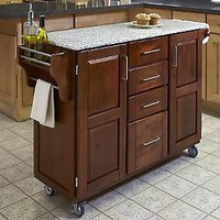 Home Styles LRG CreateACart-Cottage Oak FinishBe/GraniteTop — QVC.com