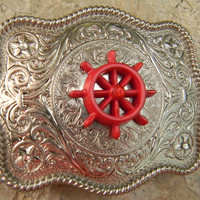 Ship Wheel Belt Buckle, Nautical Belt Buckle, Silver Western Womens Girls Belt Buckle