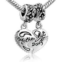 Amazon.com: Heart Mother & Daughter Beads Charm- Pandora Charms Bracelet Compatible: Pugster: Jewelry