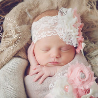 The Gabriella Sash & Headband- Ivory, Light Coral, Coral Pink, 1st birthday, baby, Girl, Newborn, Infant, Toddler