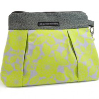 Lovely Purse - Green Floral On Gray Background