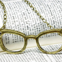 Retro Eyes Glasses charm Necklace by qizhouhuang on Etsy