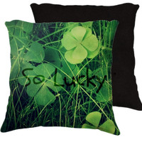 So Lucky  - Throw Pillow - Cotton Art Pillow Case Only -  Photography -Green, Lucky, 4 leaf clover, clovers, nature,