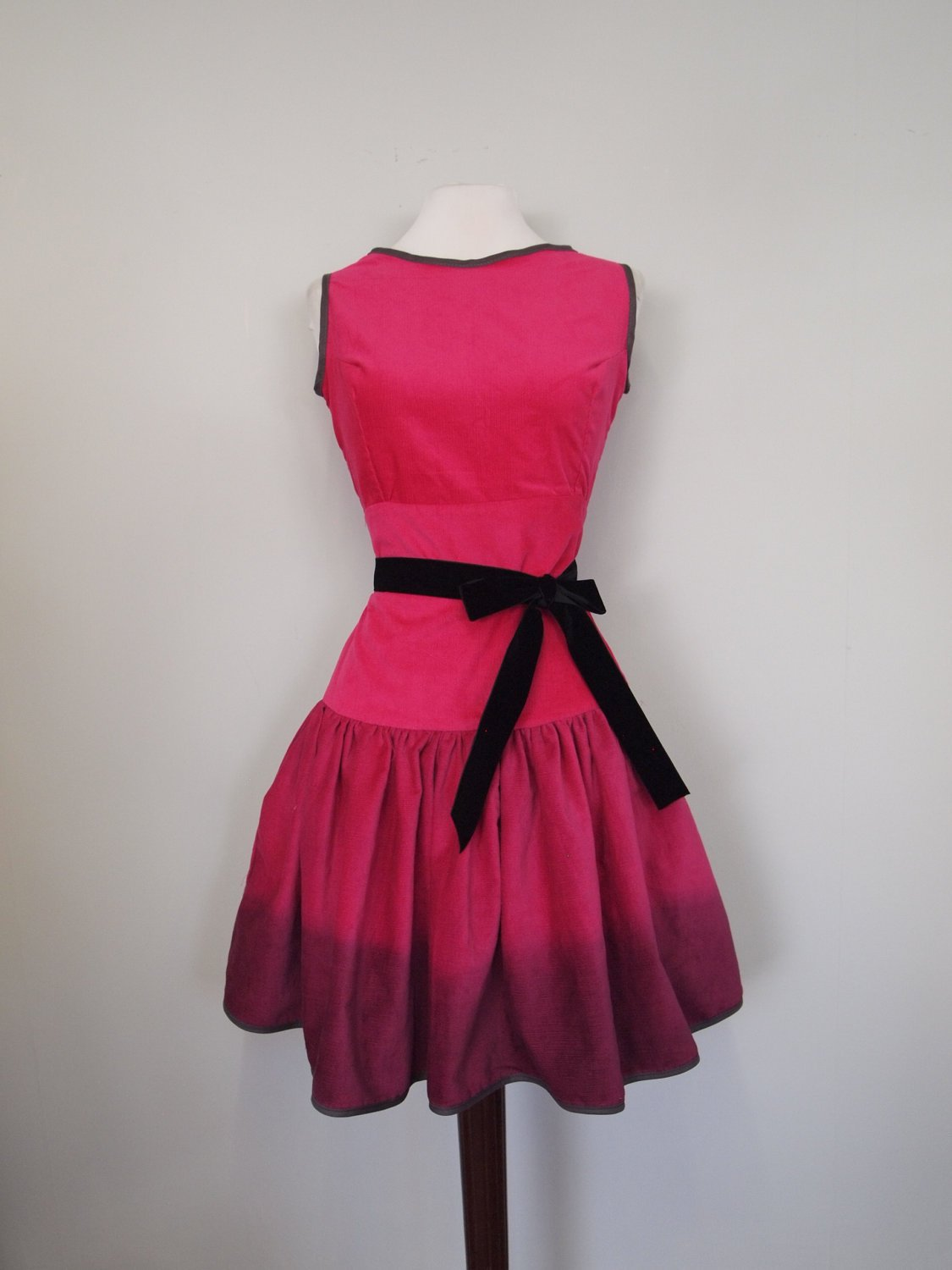 Magenta Pink Cord Long Line Dress Ready to Wear by makemeadress