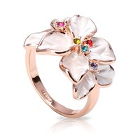 FASHION PLAZA White Enamel & Multi-color Swarovski Crystals Flower Ring (Available in Sizes 5 6 7 8 9) R79