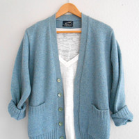 Vintage Sweater Turquoise Puritan Knitted Blue Sweater Button up Cardigan Jersey. Size Medium