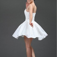 [136.13] Cute Taffeta A-line Strapless Scoop Neckline Short Wedding Dresses With Lace Appliques,Beadings and Rhinestones - Dressilyme.com