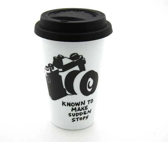Travel mug with camera Double Walled Porcelain with by LennyMud