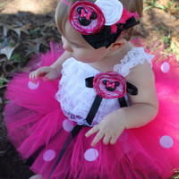 The Minnie Romper- Minnie Mouse, 1st Birthday, Hot Pink, White, Black, Birthday, outfit, Girl, Newborn, Infant,