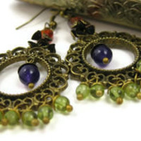 Multi Gemstone Chandelier Earrings - leafandtendril.com