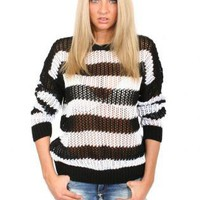 Pilot Kelly Long Striped Crochet Knit Jumper in Black