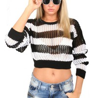 Pilot Sophie Crochet Striped Cropped Jumper in Black