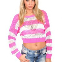 Pilot Sophie Crochet Striped Cropped Jumper in Pink