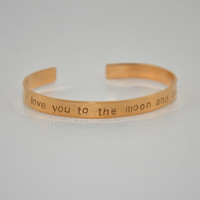 Bronze cuff bracelet stamped with I love you to the moon and back