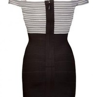 Black Cross Over Detail Body Con Dress