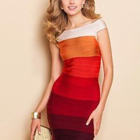 Gradient color block contrast bright body con bandage dress