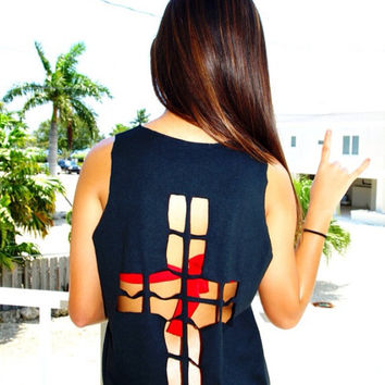 Cross Cut Out Black Crop Top Custom Shirt