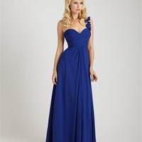 One Shoulder Sweetheart Asymmetrical ruched Bodice Chiffon Bridesmaid Dress BD0381
