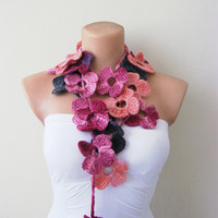 Pink Purple Salmon Flower Hand Crochet Lariat Scarf