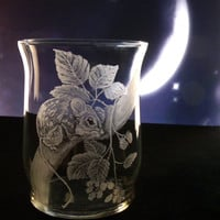 glass votive, mouse on blackberry vine , hand engraved glass candle holder decor wildlife