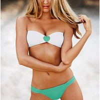 Crystal Rhinestone Strapless Padded Bikini Swimsuit