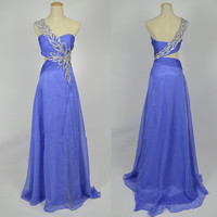 2013 Cheap New Style One Shoulder Sweetheart with Beading Chiffon Long Light Purple Prom Dresses Evening Gowns