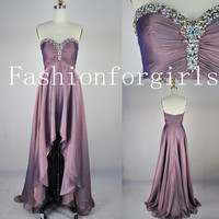 2013 A Line Strapless Sweetheart With Crystal Front Short Long Back Chiffon Prom Dresses