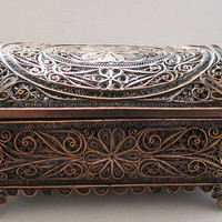 Vintage Box Filigree Copper Fine Art Jewelry Box by Trinkets4Muses