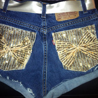 Levi's high waisted shorts with gold sequin by AngeliqueMerici