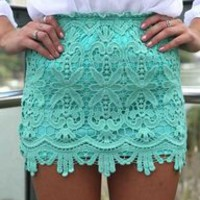 Vintage Inspired Teal Lace Mini Skirt With Elastic Waist