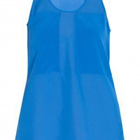 Boutique 1 - T BY ALEXANDER WANG - Blue  Chiffon Tank Top | Boutique1.com