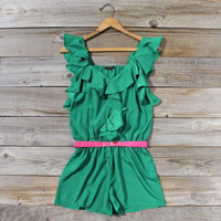 Green Meadows Ruffle Romper, Sweet Women's Bohemian Clothing