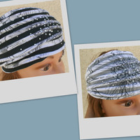 Rhinestones Headband Turban Headband Hair Turban Head Scarf Accessories Hair Headband Stretch Twisted Turban Headband - By PIYOYO