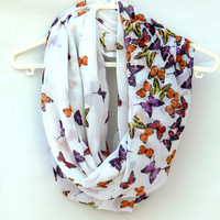 Spring Circle Scarf. Infinity Scarf with Butterflies. Women Accessories. Loop Scarf, Tube Scarf