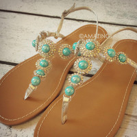 RESTOCK St. Tropez Turquoise Gem Stone Sandals