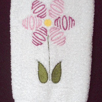 Mom Flower Bath Hand Towel embroidered in pinks.
