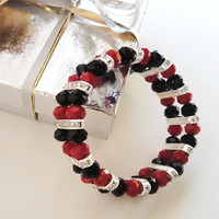 Sale 10% Off Red Black Faceted Crystal With Rhinestone Spacers Elastic Bracelet Mothers day Prom Gift