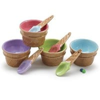 Set Of 4 Colorful Ice Cream Bowls/Dishes With Spoons Great For Party
