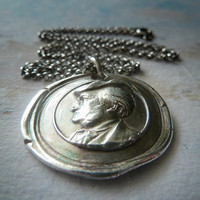 Composer Richard Wagner Wax Seal Necklace. Antique Style Wax Seal Jewelry in Fine Silver