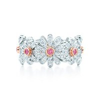 Tiffany &amp; Co. -  Jean Schlumberger Daisy ring in platinum with Fancy Vivid Pink diamonds.