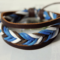 Spring Gift Lucky Braid Multicolor Soft hemp rope and Brown Leather Belt Adjustable Handmade Bracelet  M-35