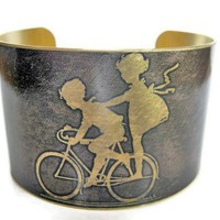 Kids on Bike Vintage Style Brass Cuff Bracelet - Whimsical & Unique Gift Ideas for the Coolest Gift Givers