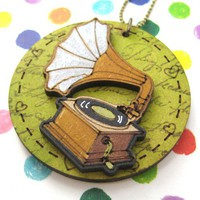 SALE Hand Painted Phonograph Gramophone Wood Pendant Necklace Green