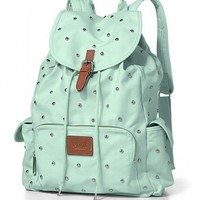 VICTORIA'S SECRET PINK MINT STUDS SCHOOL BOOK BAG BACKPACK BOOKBAG TOTE NEW!