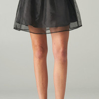 BLACK ORGANZA SKATER SKIRT