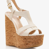 Faux Leather Cork Wedge Sandals