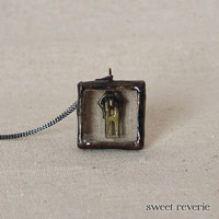 Found Object Specimen Miniature Shadow Box Necklace, Vintage Metal Zipper Necklace, Repurposed Jewelry