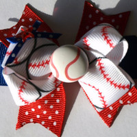 custom colors baseball hair bow by mylittlebows on Etsy