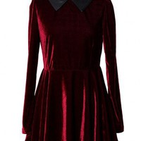 Wine Red Velvet Faux Leather Collar Dress