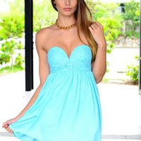 Mint Blue Strapless Mini Dress with Lace Bodice Detail